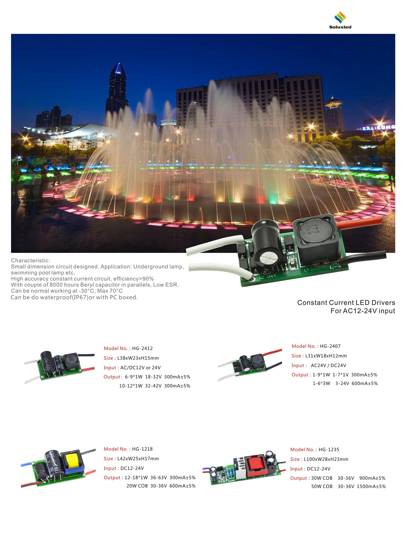 Led Driver For Ac12 24v Input 1w Circuit